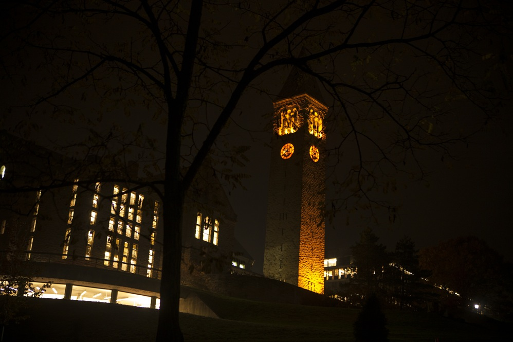 Libe Tower reflects the Halloween season on an unseasonably warm night.